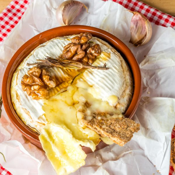 Whole Baked Brie with Honey and Pecans