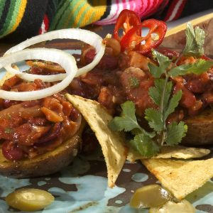 Tex-Mex Baked Potatoes with Chilli